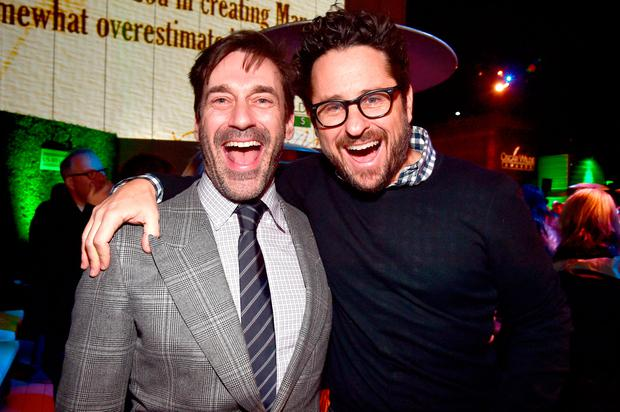 Actor Jon Hamm (L) and director J.J. Abrams attend the 12th Annual US-Ireland Aliiance's Oscar Wilde Awards event at Bad Robot on February 23, 2017 in Santa Monica, California. (Photo by Alberto E. Rodriguez/Getty Images for US-Ireland Alliance )