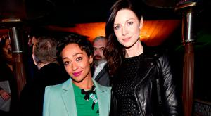 Honorees Ruth Negga (L) and Caitriona Balfe attend the 12th Annual US-Ireland Aliiance's Oscar Wilde Awards event at Bad Robot on February 23, 2017 in Santa Monica, California. (Photo by Alberto E. Rodriguez/Getty Images for US-Ireland Alliance )