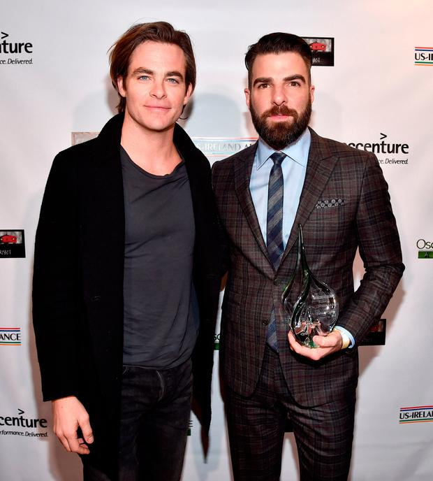 Presenter Chis Pine (L) and honoree Zachary Quinto attend the 12th Annual US-Ireland Aliiance's Oscar Wilde Awards event at Bad Robot on February 23, 2017 in Santa Monica, California. (Photo by Alberto E. Rodriguez/Getty Images for US-Ireland Alliance )