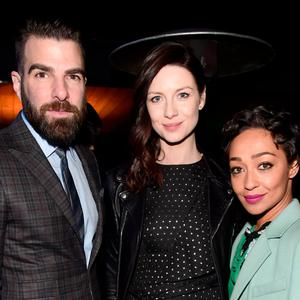 (L-R) Honorees Caitriona Balfe, Zachary Quinto, and Ruth Negga attend the 12th Annual US-Ireland Aliiance's Oscar Wilde Awards event at Bad Robot on February 23, 2017 in Santa Monica, California. (Photo by Alberto E. Rodriguez/Getty Images for US-Ireland Alliance )