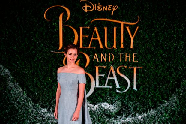 English actress Emma Watson poses upon arrival at the UK launch of the film