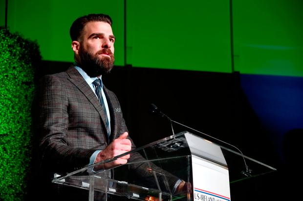 Honoree Zachary Quinto speaks onstage during the 12th Annual US-Ireland Aliiance's Oscar Wilde Awards event at Bad Robot on February 23, 2017 in Santa Monica, California. (Photo by Alberto E. Rodriguez/Getty Images for US-Ireland Alliance )