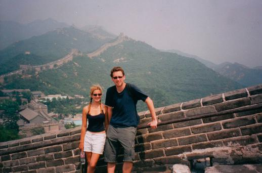 Shannon and Sean pictured on the Great Wall of China (Photo supplied)