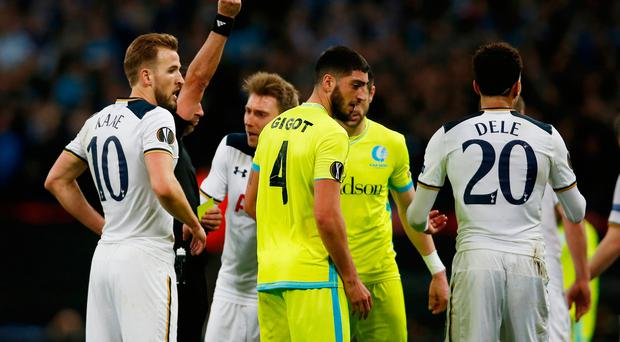 Tottenham's Dele Alli is shown a red card by referee Jorge Sousa Action Images via Reuters / Paul Childs Livepic