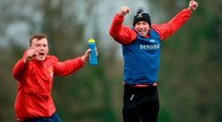IT Carlow manager DJ Carey celebrates a goal by Kevin Kelly alongside Mícheál Harney, left, during the Independent.ie HE GAA Fitzgibbon Cup semi-final meeting of IT Carlow and University College Cork at Dangan, in Galway. Photo by Piaras Ó Mídheach/Sportsfile