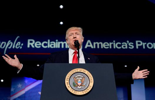 U.S. President Donald Trump delivers remarks to the Conservative Political Action Conference (CPAC) on February 24, 2017 in National Harbor, Maryland. (Photo by Olivier Douliery - Pool/Getty Images)