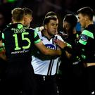 Players from both Shamrock Rovers and Dundalk clash resulting in the Shamrock Rovers player Graham Burke being sent off during the SSE Airtricity League Premier Division match between Dundalk and Shamrock Rovers at Oriel Park, in Dundalk. Photo by David Maher/Sportsfile