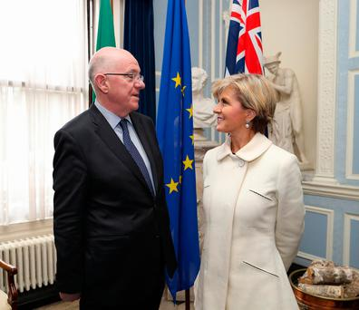 Foreign Affairs Minister Charlie Flanagan with Australian Foreign Minister Julie Bishop. Photo: Maxwells
