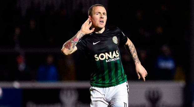 Gary McCabe of Bray Wanderers celebrates after scoring his side's second goal. Photo: David Fitzgerald/Sportsfile