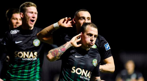 Gary McCabe of Bray Wanderers celebrates after scoring his side's second goal during the SSE Airtricity League Premier Division match between St Patrick's Athletic and Bray Wanderers at Richmond Park in Dublin. Photo by David Fitzgerald/Sportsfile