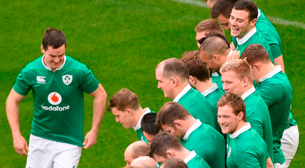 The Irish players share a light-hearted moment with Johnny Sexton as they wait for the team photograph to be taken at the Aviva Stadium yesterday. Photo: David Fitzgerald/Sportsfile