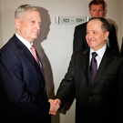 US Defence Secretary Jim Mattis with Iraqi Kurdish leader Masoud Barzani at the Munich Security Conference last week. Photo: Matthias Schrader/AP Photo