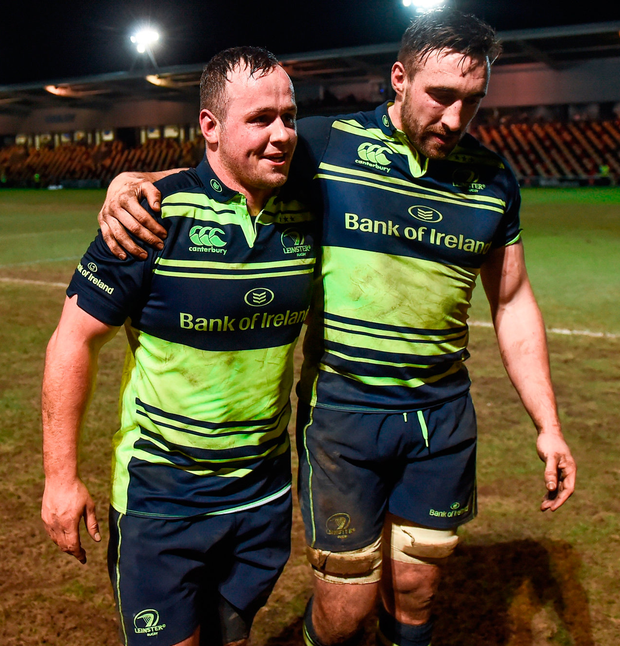 Leinster players Ed Byrne (left) and Jack Conan following the match Photo: Stephen McCarthy/Sportsfile