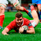 Munster's Jaco Taute scores his side's first try Photo: Diarmuid Greene/Sportsfile