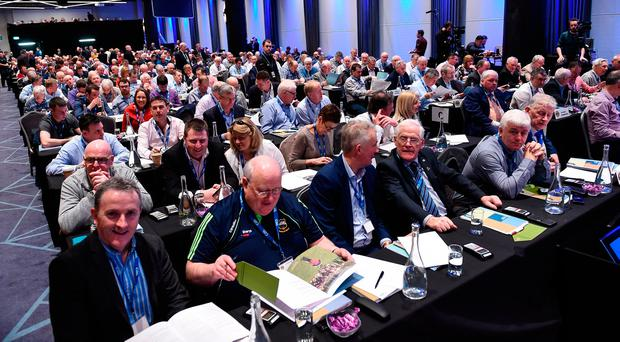 Delegates assemble before the 2017 GAA Annual Congress at Croke Park, in Dublin. Photo by Ray McManus/Sportsfile