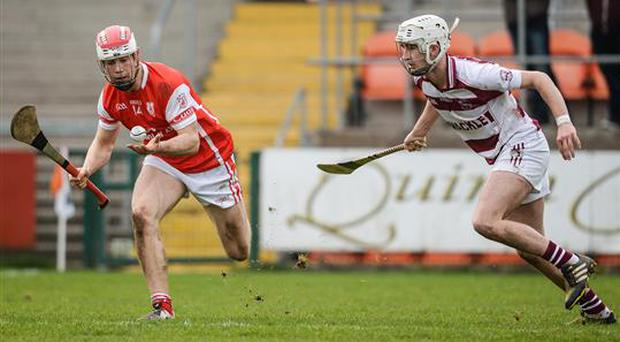 25 February 2017; Con O'Callaghan of Cuala in action against Meehaul McGrath of Slaughtneil during the AIB GAA Hurling All-Ireland Senior Club Championship Semi-Final match between Cuala and Slaughtneil at the Athletic Grounds in Armagh. Photo by Eóin Noonan/Sportsfile