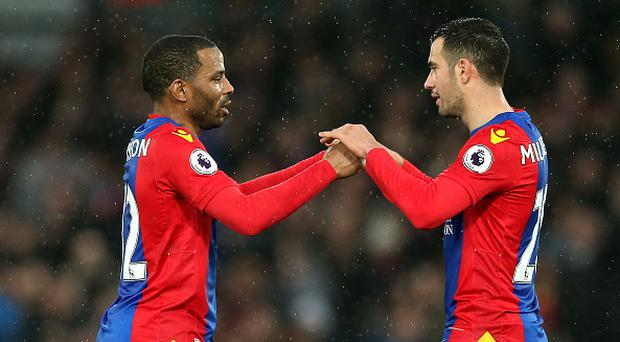 LONDON, ENGLAND - FEBRUARY 25: Jason Puncheon of Crystal Palace (L) and Luka Milivojevic of Crystal Palace (R) embrace after the Premier League match between Crystal Palace and Middlesbrough at Selhurst Park on February 25, 2017 in London, England. (Photo by Alex Morton/Getty Images)