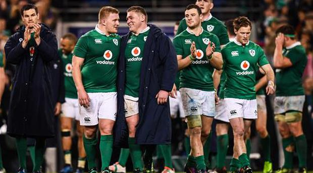 25 February 2017; John Ryan, left, and Tadhg Furlong of Ireland following the RBS Six Nations Rugby Championship game between Ireland and France at the Aviva Stadium in Lansdowne Road, Dublin. Photo by Stephen McCarthy/Sportsfile