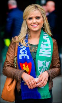 THE GALWAY GIRL: Mags Cunningham, of Galway, at yesterday's match. Photo: Doug O'Connor