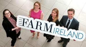 RARE DEAL: Sharon Ledwidge, TV3 group brands partnerships manager, Margaret Donnelly, editor of FarmIreland.ie, Sarah Geoghegan, Virgin Media Solutions brand executive, and Geoff Lyons, commercial director of Independent News and Media when it was announced that FarmIreland.ie were to sponsor the programme 'Rare Breed'. Photo: Brian McEvoy