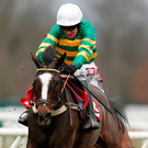 Barry Geraghty riding River Frost at Kempton yesterday. Photo: Alan Crowhurst/Getty Images