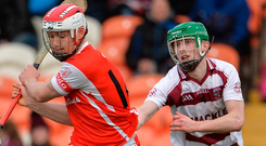 Cuala's Con O'Callaghan in action against Paul McNeill of Slaughtneil. Photo: Oliver McVeigh/Sportsfile