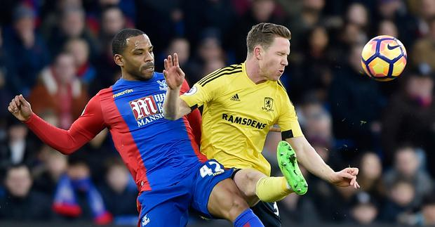 Crystal Palace's Jason Puncheon in action with Middlesbrough's Adam Forshaw. Photo: Reuters