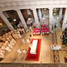 Mourned: Cardinal Desmond Connell's coffin at his funeral Mass at St Mary's Pro-Cathedral Dublin. Photo: Collins