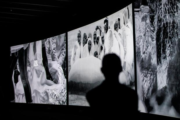 MOVING PICTURE: Images from 'Incoming', an installation created by Irish photographer Richard Mosse, who used a thermal-imaging camera designed for the military to document Europe's refugee crisis. Photo: Tristan Fewings/Getty Images