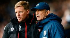 Bournemouth manager Eddie Howe with West Bromwich Albion manager Tony Pulis. Photo: Reuters