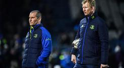 17 February 2017; Leinster senior coach Stuart Lancaster, left, and head coach Leo Cullen prior to the Guinness PRO12 Round 15 match between Leinster and Edinburgh at the RDS Arena in Ballsbridge, Dublin. Photo by Brendan Moran/Sportsfile