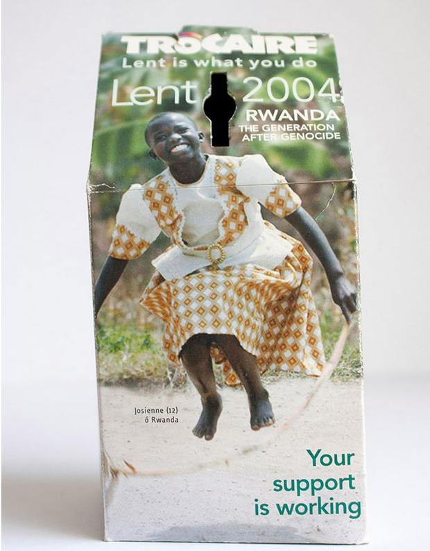Josiane on the 2004 Trocaire box, the 10 year anniversary of the 1994 Genocide (Image: Trocaire website)