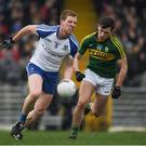 26 February 2017; Kieran Duffy of Monaghan in action against Jack Savage of Kerry during the Allianz Football League Division 1 Round 3 match between Kerry and Monaghan at Fitzgerald Stadium in Killarney, Co. Kerry. Photo by Brendan Moran/Sportsfile