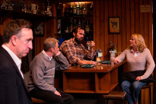 Propping up the bar: Gary Lydon, Frankie McCafferty, Patrick Ryan and Janet Moran in 'The Weir' by Conor McPherson at the Gaiety Theatre in Dublin. Photo: Darragh Kane