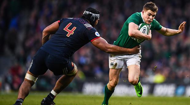 Dublin , Ireland - 25 February 2017; Garry Ringrose of Ireland is tackled by Sebastian Vahaamahina of France during the RBS Six Nations Rugby Championship game between Ireland and France at the Aviva Stadium in Lansdowne Road, Dublin. (Photo By Stephen McCarthy/Sportsfile via Getty Images)