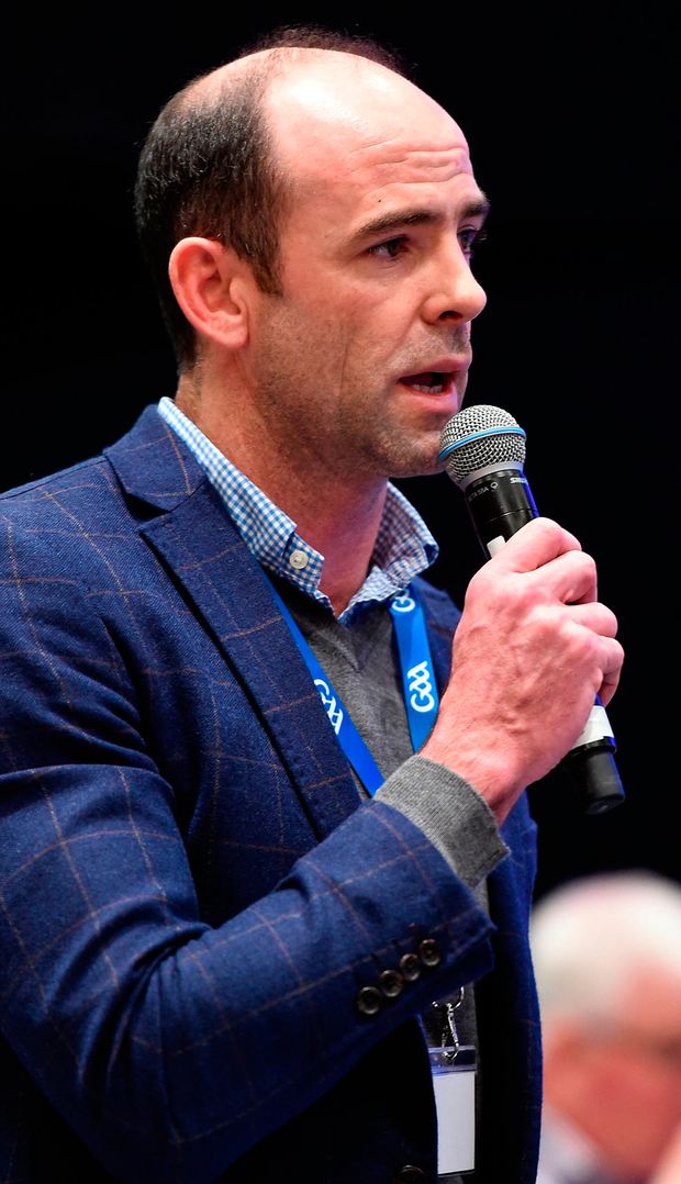 GPA CEO Dermot Earley speaking at Congress over the weekend, where he expressed the association's resistance to the restructuring of the Championship, a motion passed by 76pc to 24pc. Photo: Ray McManus/Sportsfile
