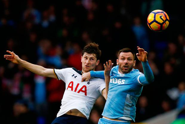 Tottenham's Ben Davies in action with Stoke City's Phil Bardsley. Photo: Reuters / Peter Cziborra