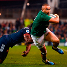 Simon Zebo is tackled by France's Noa Nakaitaci during the RBS Six Nations match at the Aviva Stadium. Photo: Stephen McCarthy/Sportsfile