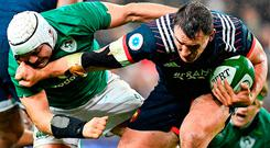 France's Louis Picamoles brushes off Ireland's Rory Best during Saturday's clash. Photo: Franck Fife/Getty Images
