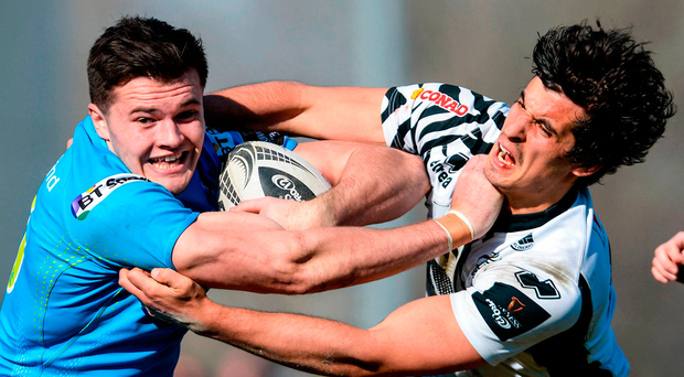 Ulster's Jacob Stockdale is tackled by Zebre's Serafin Bordoli during their Guinness PRO12 match at Stadio Sergio Lanfranchi in Parma, Italy. Photo: Massimiliano Pratelli/Sportsfile