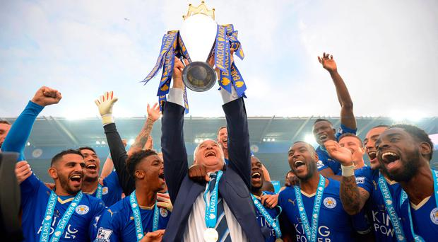 Claudio Ranieri and his players celebrating after winning the Premier League. Photo: Getty
