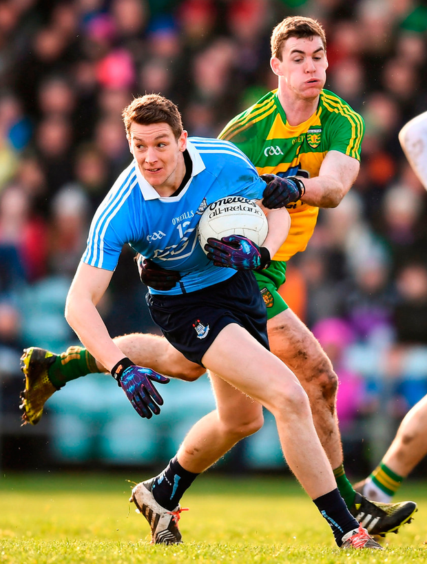Dublin's Jason Whelan in action against Caolan Ward of Donegal. Photo: Stephen McCarthy/Sportsfile