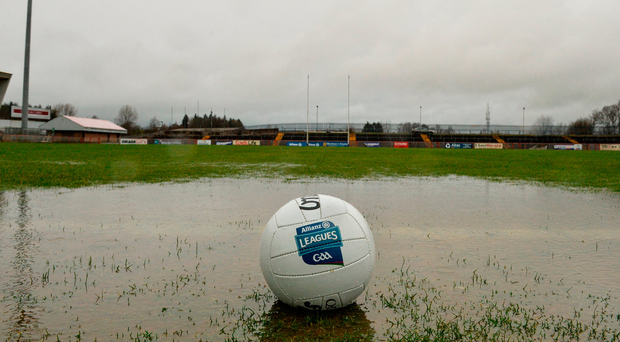The waterlogged pitch in Healy Park. Photo: Oliver McVeigh/Sportsfile