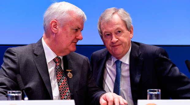GAA president Aogán Ó Fearghail and director-general Páraic Duffy in conversation before the annual Congress at Croke Park. Photo: Ray McManus/Sportsfile