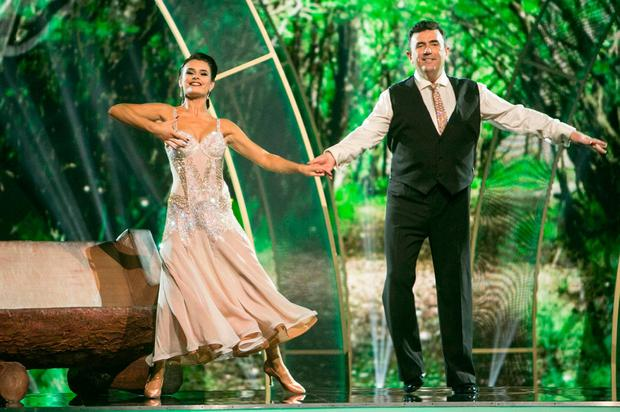 Des Cahill with dance partner Karen Byrne on last night's Dancing with the Stars show. Photo: Kyran O'Brien