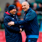Italy head coach Conor O'Shea and England head coach Eddie Jones shake hands before yesterday's Six Nations game. Photo: Paul Harding/PA