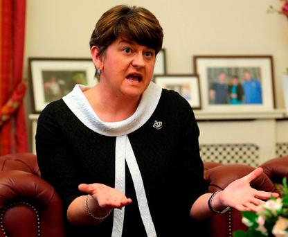 Arlene Foster continued with her recent mantra of mentioning Mr Adams as often as possible in her public pronouncements. Photo: Niall Carson/PA Wire