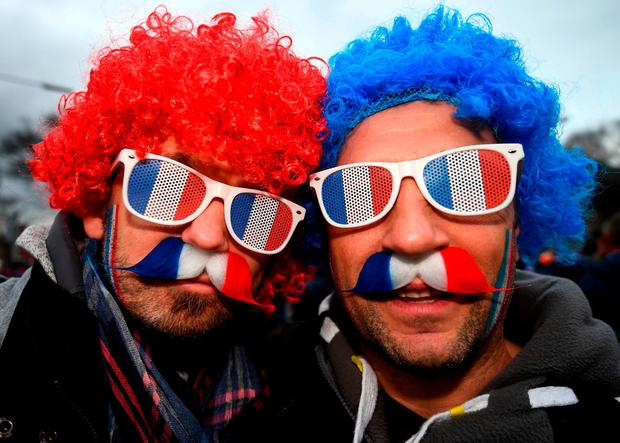 French supporters making their way to the Aviva Stadium. Photo: Stephen McCarthy/Sportsfile