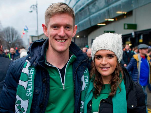 Andrew O'Leary and Jennie Fair from Cabinteely, Dublin, at the match. Photo: Doug O'Connor