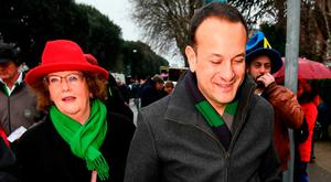 Leo enjoys a break from the political scrum: Social Protection Minister Leo Varadkar and Senator Maria Byrne make their way to the Six Nations clash between Ireland and France at the Aviva Stadium on Saturday. Photo: Stephen McCarthy